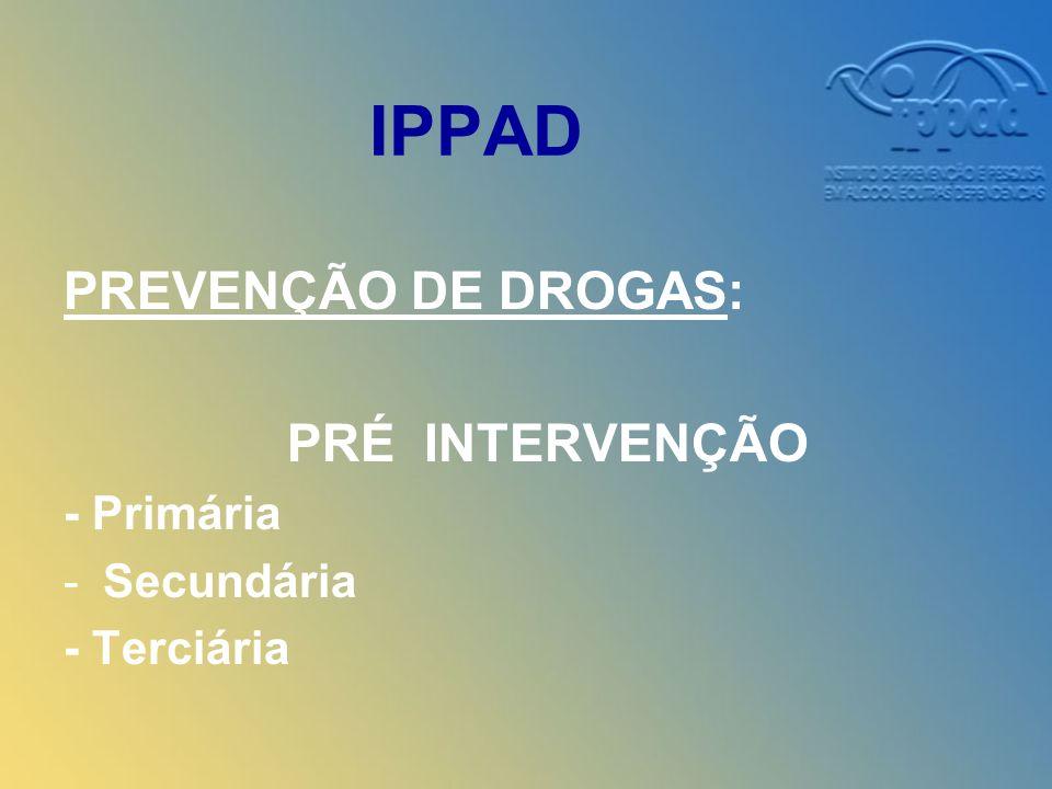 IPPAD PREVENÇÃO DE DROGAS: PRÉ INTERVENÇÃO - Primária -Secundária - Terciária