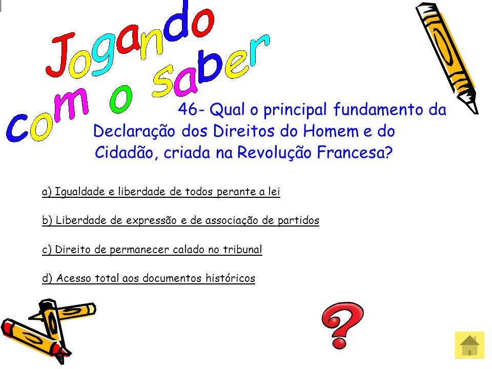 45 - Qual dessas leis não participou do conjunto de leis para abolição gradual da escravatura no Brasil? a) Lei do ventre Livre b) Lei Eusébio de Quei