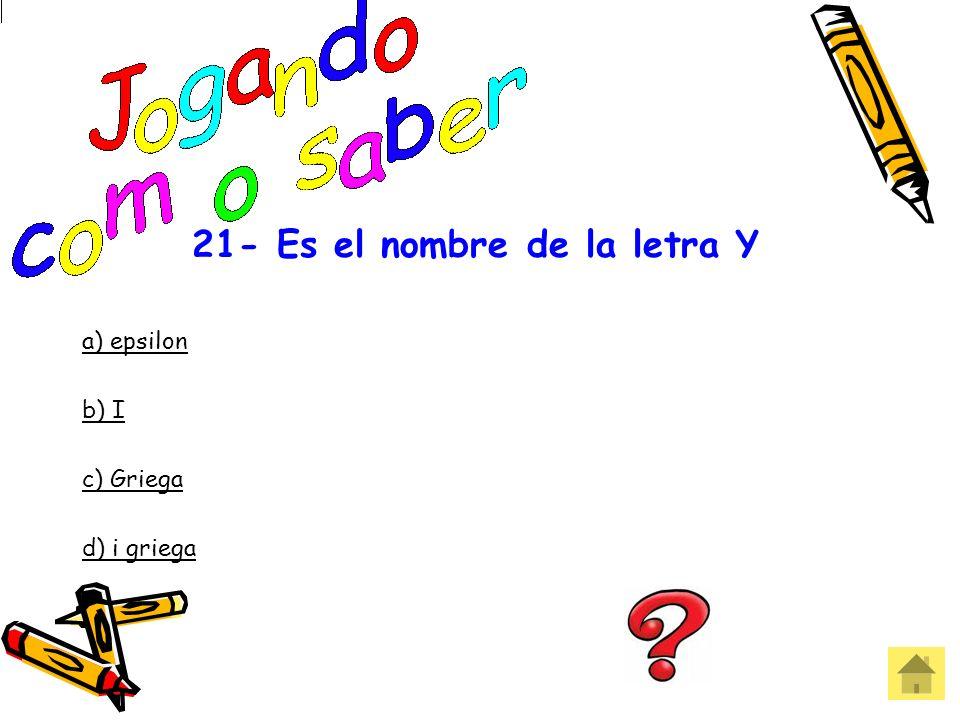 20 - ______________es decir una a una las letras de una palabra. a) deletrear b) Alfabetizar c) Transcribir d) Escribir Errou! Que pena!