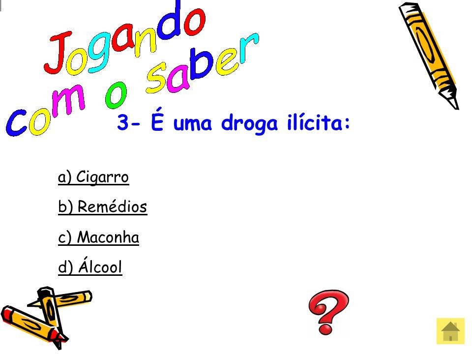 2- É uma droga lícita: a) Maconha b) Charuto c) LSD d) Cocaína Errou! Que pena!