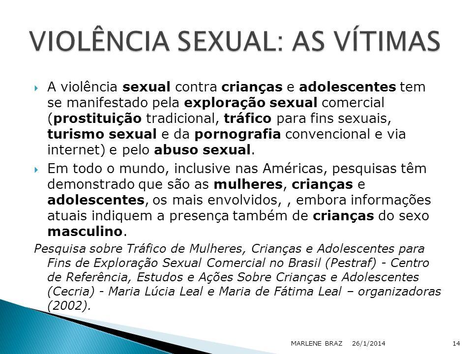 A violência sexual contra crianças e adolescentes tem se manifestado pela exploração sexual comercial (prostituição tradicional, tráfico para fins sex