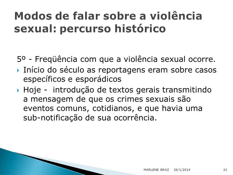 5º - Freqüência com que a violência sexual ocorre. Início do século as reportagens eram sobre casos específicos e esporádicos Hoje - introdução de tex