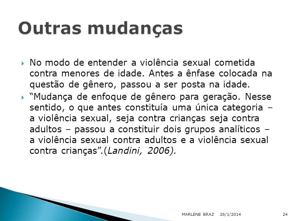 No modo de entender a violência sexual cometida contra menores de idade. Antes a ênfase colocada na questão de gênero, passou a ser posta na idade. Mu