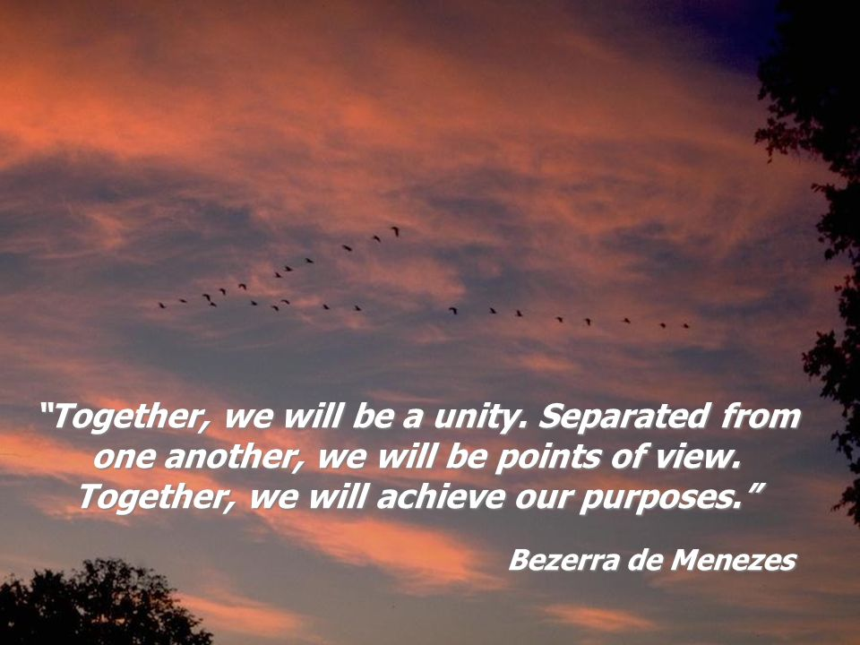 Bezerra de Menezes Together, we will be a unity. Separated from one another, we will be points of view. Together, we will achieve our purposes.