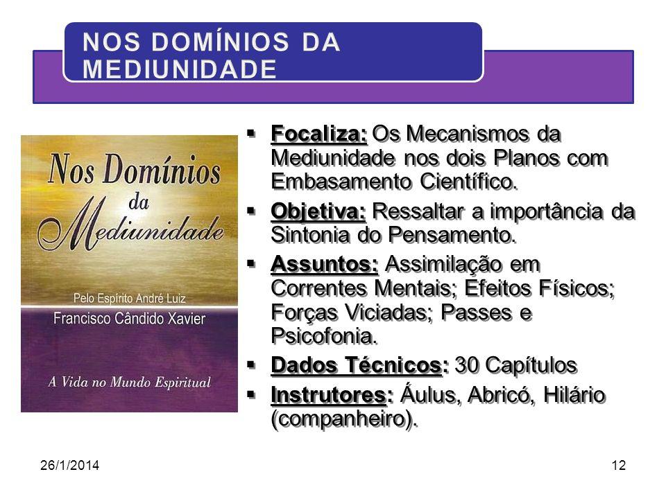26/1/201412 Focaliza: Os Mecanismos da Mediunidade nos dois Planos com Embasamento Científico. Objetiva: Ressaltar a importância da Sintonia do Pensam
