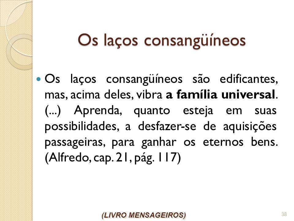 26/1/2014 38 Os laços consangüíneos Os laços consangüíneos são edificantes, mas, acima deles, vibra a família universal. (...) Aprenda, quanto esteja