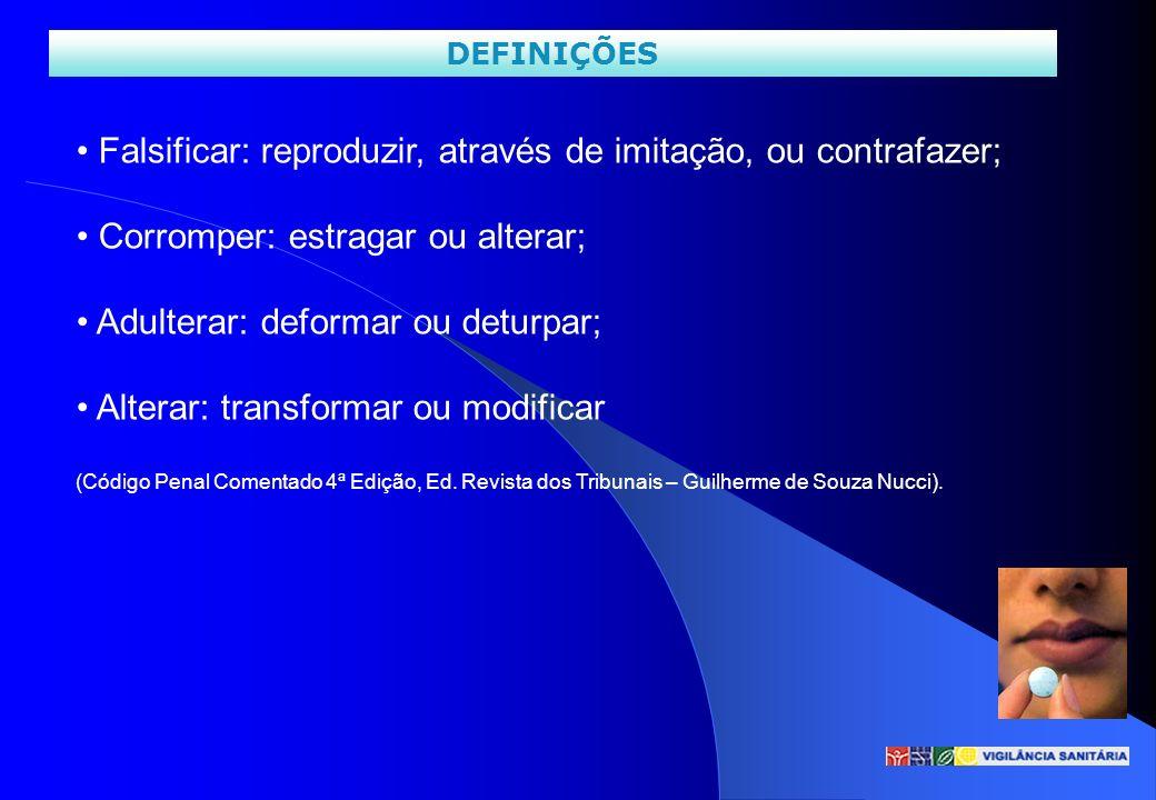 DEFINIÇÕES Falsificar: reproduzir, através de imitação, ou contrafazer; Corromper: estragar ou alterar; Adulterar: deformar ou deturpar; Alterar: tran