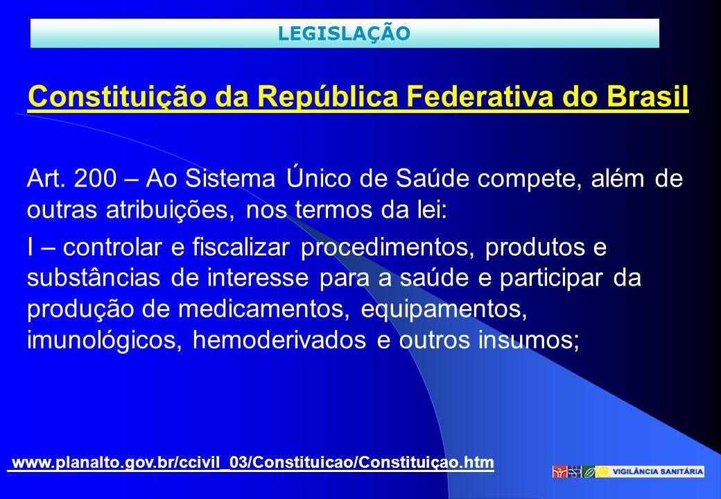 Constituição da República Federativa do Brasil Art. 200 – Ao Sistema Único de Saúde compete, além de outras atribuições, nos termos da lei: I – contro