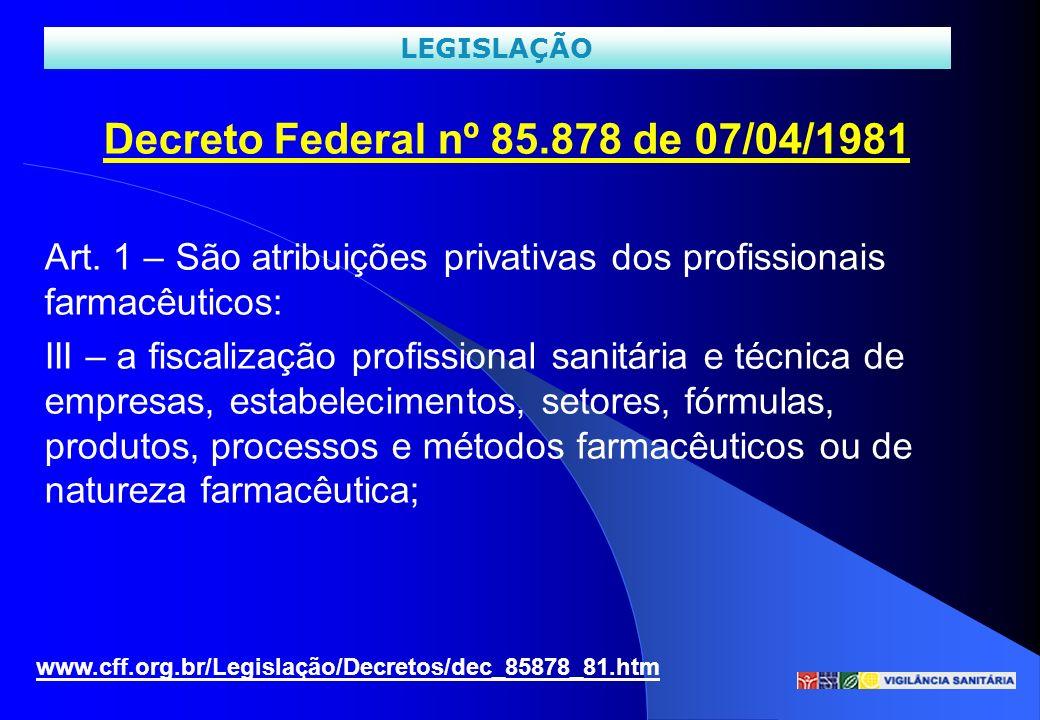 Decreto Federal nº 85.878 de 07/04/1981 Art. 1 – São atribuições privativas dos profissionais farmacêuticos: III – a fiscalização profissional sanitár