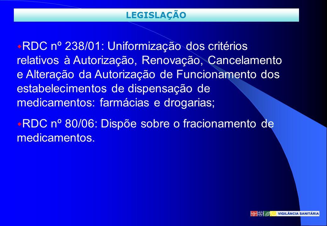 w RDC nº 238/01: Uniformização dos critérios relativos à Autorização, Renovação, Cancelamento e Alteração da Autorização de Funcionamento dos estabele