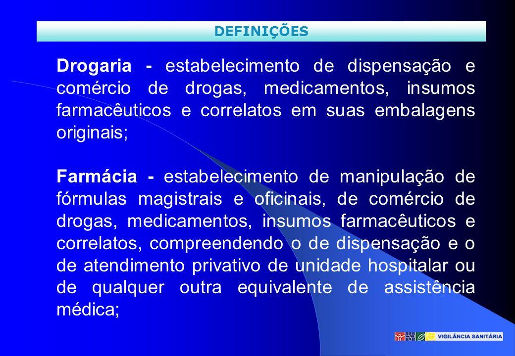 Drogaria - estabelecimento de dispensação e comércio de drogas, medicamentos, insumos farmacêuticos e correlatos em suas embalagens originais; Farmáci