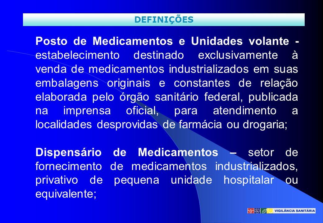 Posto de Medicamentos e Unidades volante - estabelecimento destinado exclusivamente à venda de medicamentos industrializados em suas embalagens origin