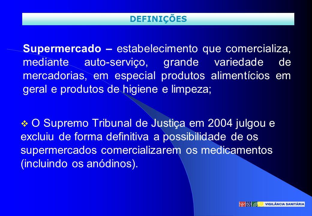 O Supremo Tribunal de Justiça em 2004 julgou e excluiu de forma definitiva a possibilidade de os supermercados comercializarem os medicamentos (inclui