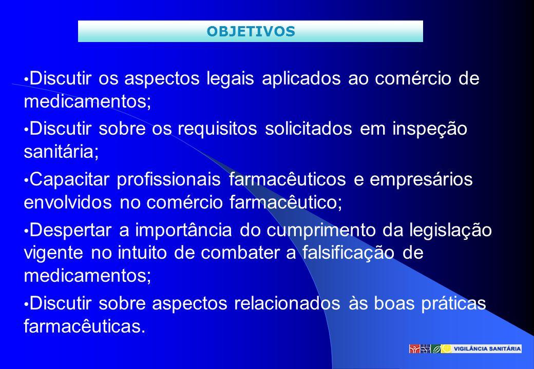 Discutir os aspectos legais aplicados ao comércio de medicamentos; Discutir sobre os requisitos solicitados em inspeção sanitária; Capacitar profissio