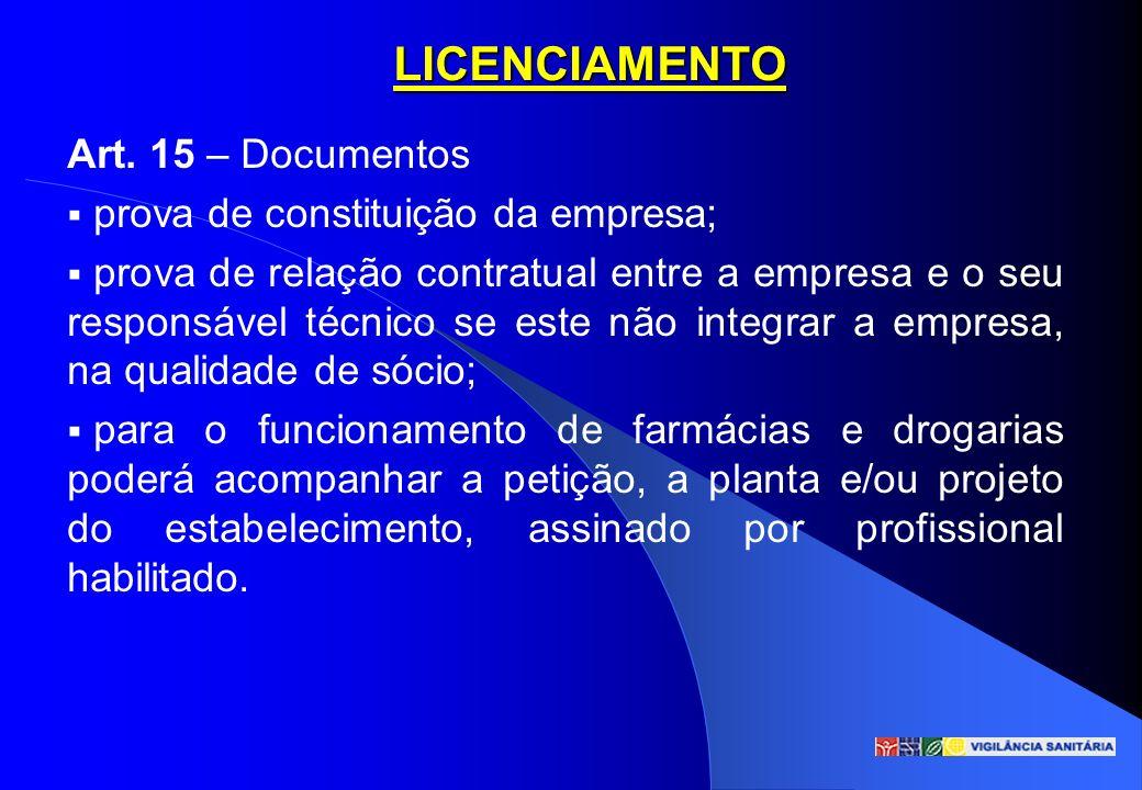 LICENCIAMENTO Art. 15 – Documentos prova de constituição da empresa; prova de relação contratual entre a empresa e o seu responsável técnico se este n