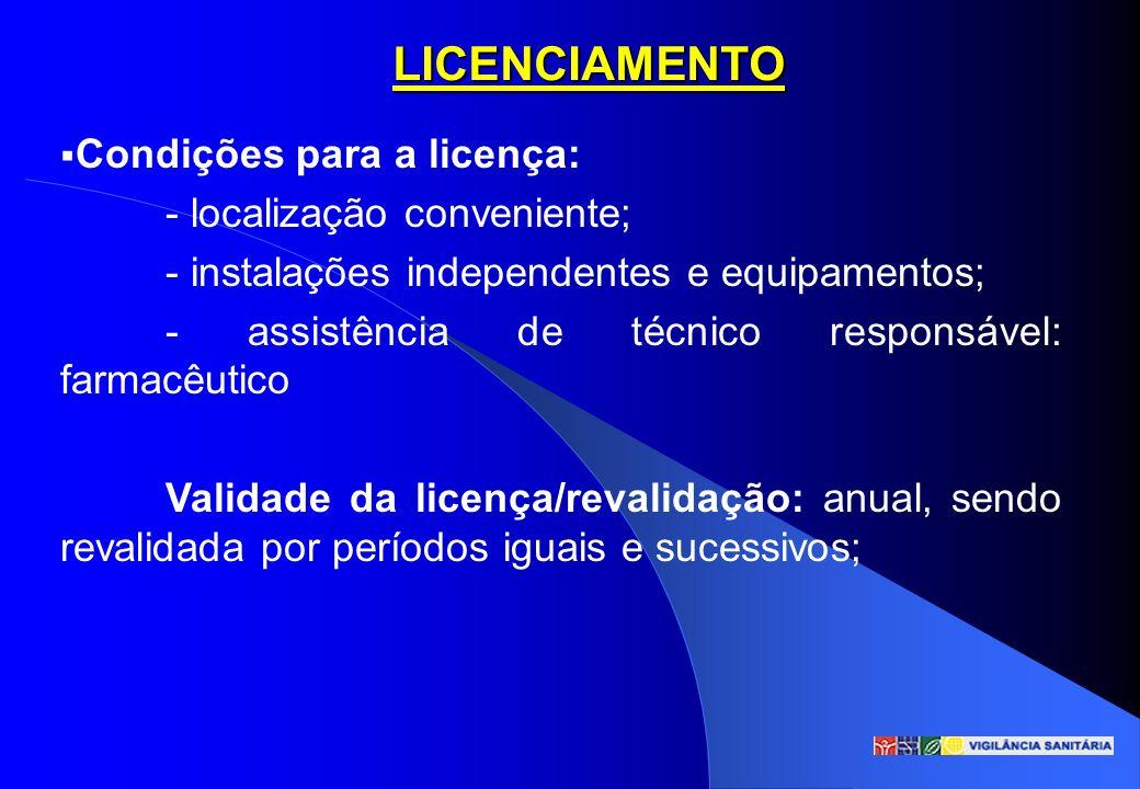 LICENCIAMENTO Condições para a licença: - localização conveniente; - instalações independentes e equipamentos; - assistência de técnico responsável: f