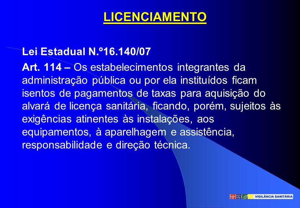 LICENCIAMENTO Lei Estadual N.º16.140/07 Art. 114 – Os estabelecimentos integrantes da administração pública ou por ela instituídos ficam isentos de pa