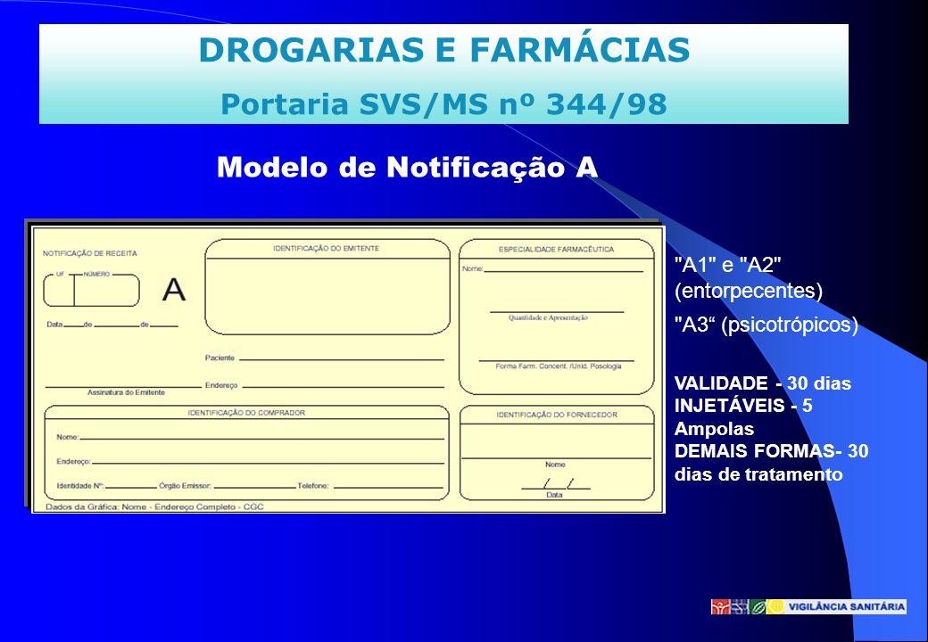 DROGARIAS E FARMÁCIAS Portaria SVS/MS nº 344/98 Modelo de Notificação A