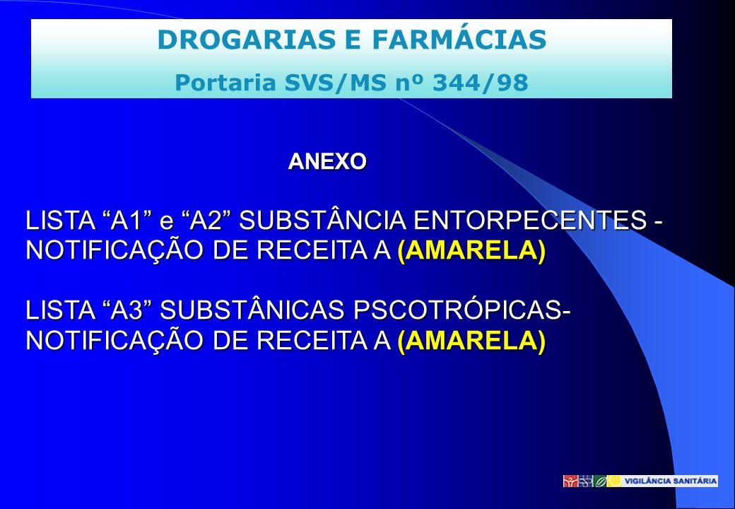 DROGARIAS E FARMÁCIAS Portaria SVS/MS nº 344/98 ANEXO LISTA A1 e A2 SUBSTÂNCIA ENTORPECENTES - NOTIFICAÇÃO DE RECEITA A (AMARELA) LISTA A3 SUBSTÂNICAS