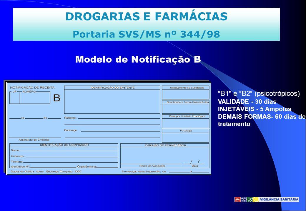 DROGARIAS E FARMÁCIAS Portaria SVS/MS nº 344/98 Modelo de Notificação B B1