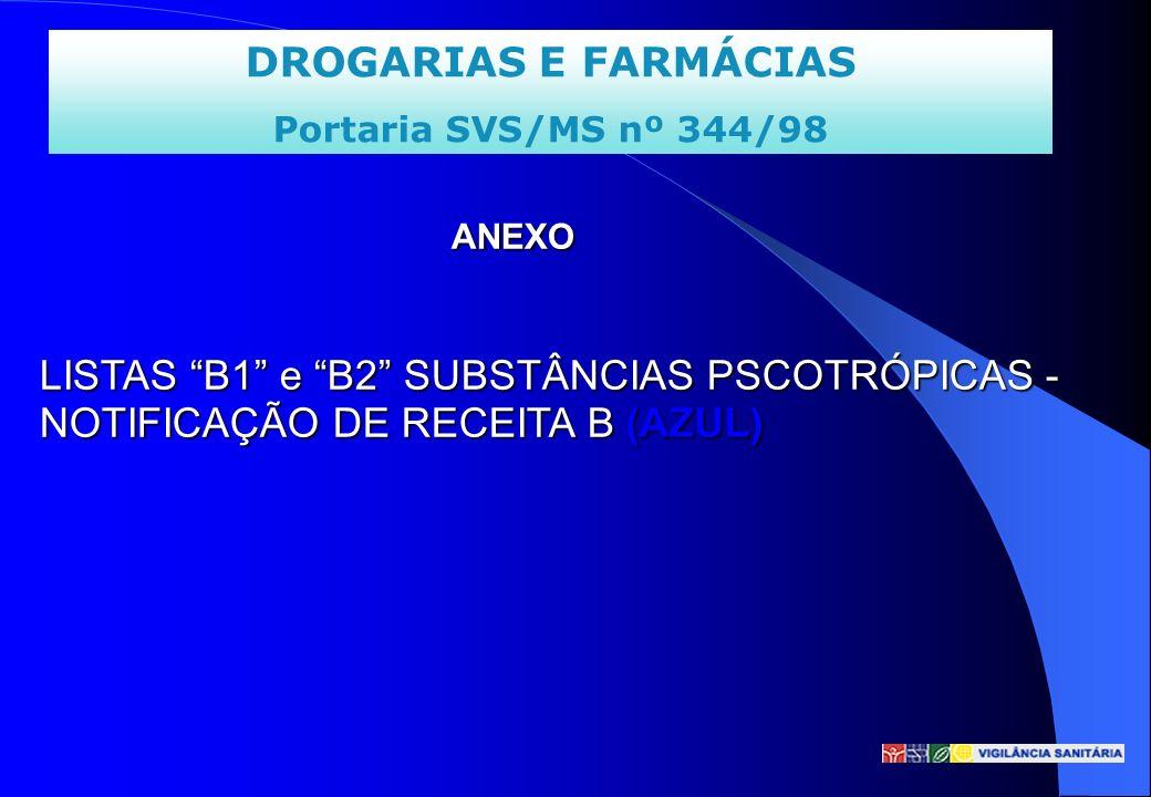 DROGARIAS E FARMÁCIAS Portaria SVS/MS nº 344/98 ANEXO LISTAS B1 e B2 SUBSTÂNCIAS PSCOTRÓPICAS - NOTIFICAÇÃO DE RECEITA B (AZUL) ANEXO LISTAS B1 e B2 S