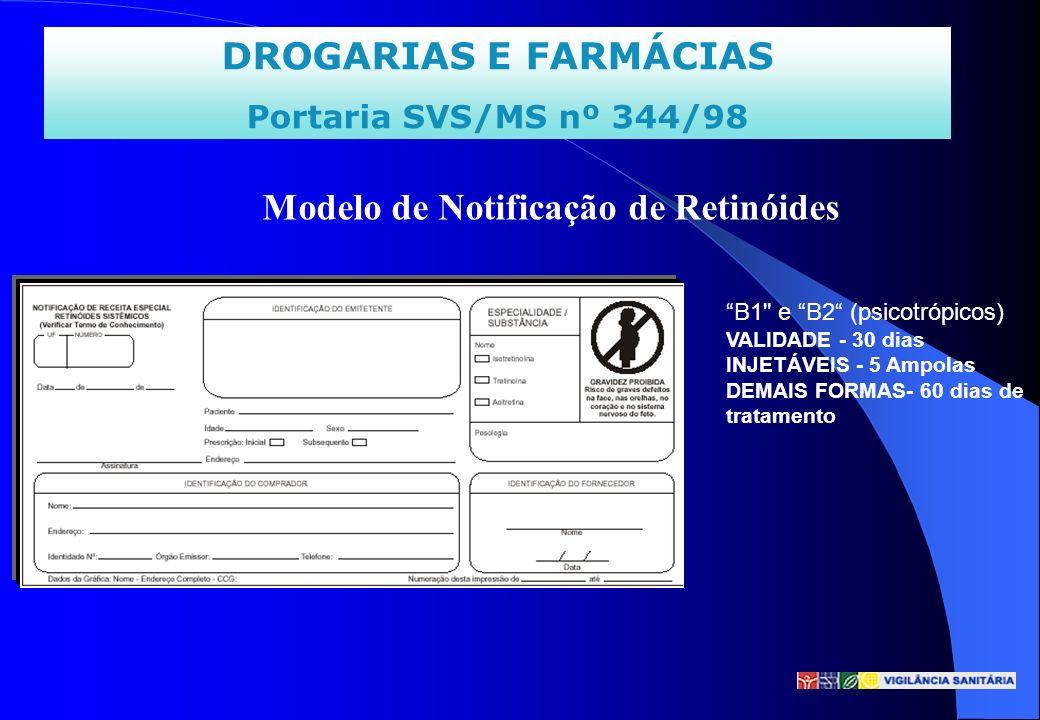 DROGARIAS E FARMÁCIAS Portaria SVS/MS nº 344/98 Modelo de Notificação de Retinóides B1