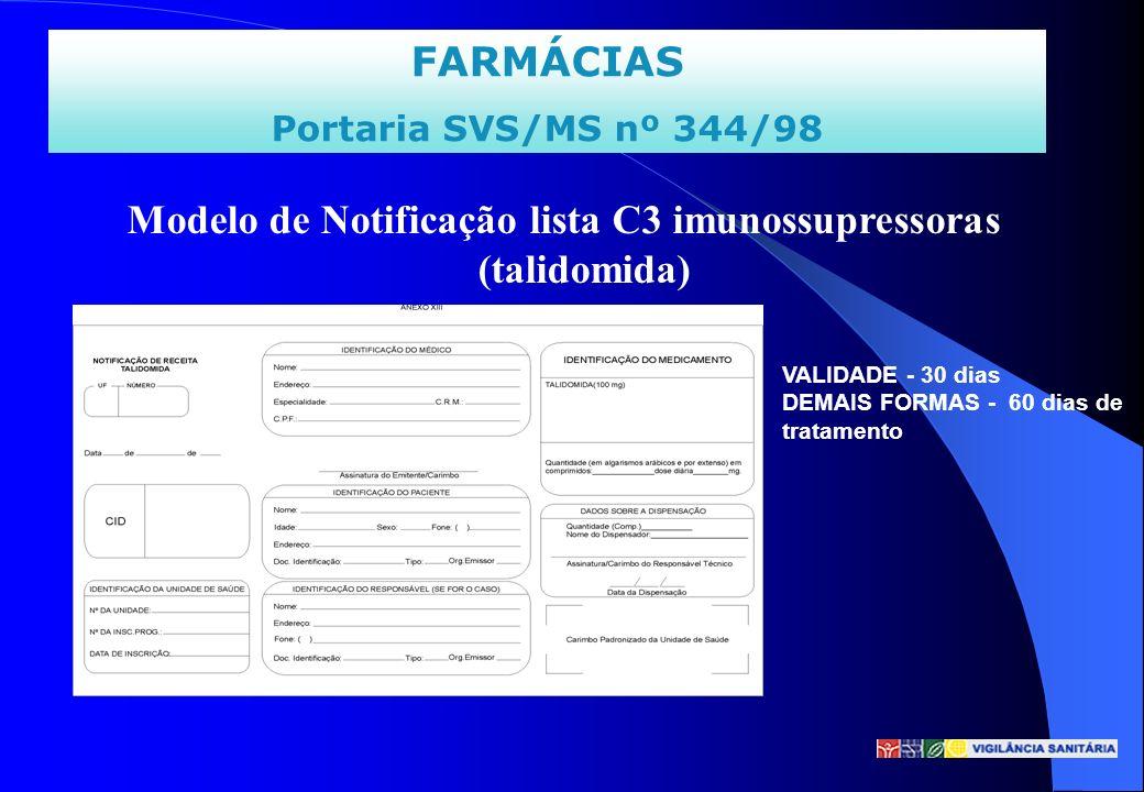 FARMÁCIAS Portaria SVS/MS nº 344/98 Modelo de Notificação lista C3 imunossupressoras (talidomida) VALIDADE - 30 dias DEMAIS FORMAS - 60 dias de tratam
