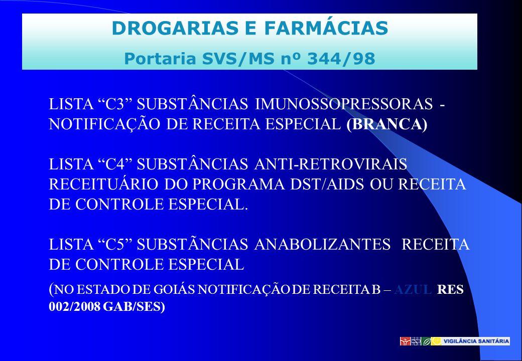 DROGARIAS E FARMÁCIAS Portaria SVS/MS nº 344/98 LISTA C3 SUBSTÂNCIAS IMUNOSSOPRESSORAS - NOTIFICAÇÃO DE RECEITA ESPECIAL (BRANCA) LISTA C4 SUBSTÂNCIAS