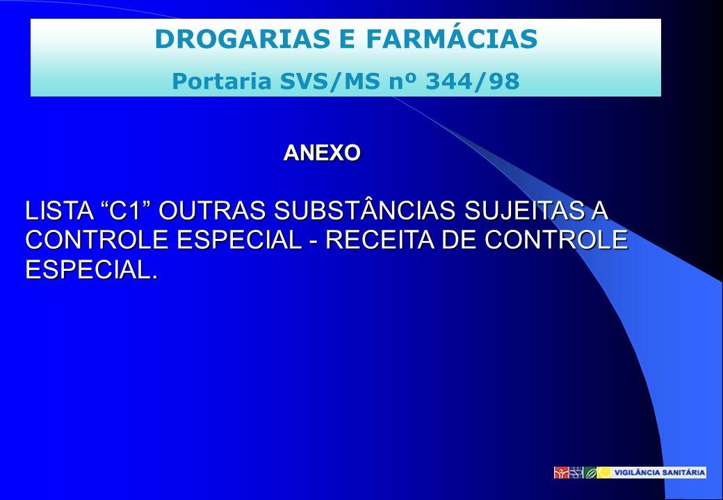 DROGARIAS E FARMÁCIAS Portaria SVS/MS nº 344/98 ANEXO LISTA C1 OUTRAS SUBSTÂNCIAS SUJEITAS A CONTROLE ESPECIAL - RECEITA DE CONTROLE ESPECIAL. ANEXO L