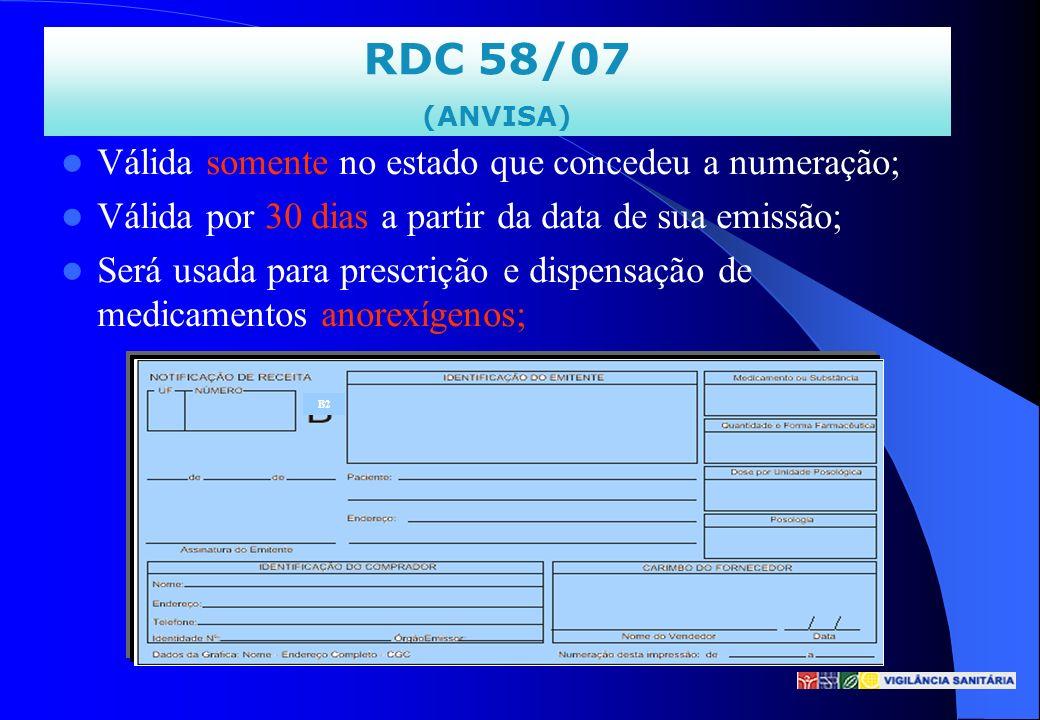 RDC 58/07 (ANVISA) Válida somente no estado que concedeu a numeração; Válida por 30 dias a partir da data de sua emissão; Será usada para prescrição e