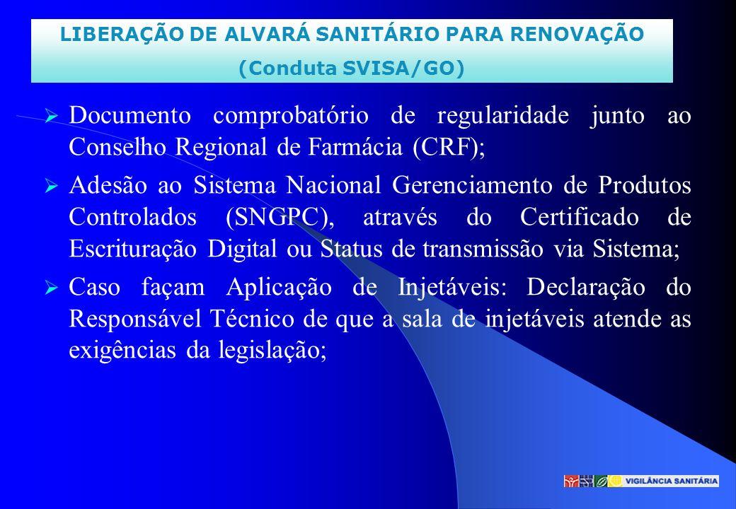 Documento comprobatório de regularidade junto ao Conselho Regional de Farmácia (CRF); Adesão ao Sistema Nacional Gerenciamento de Produtos Controlados