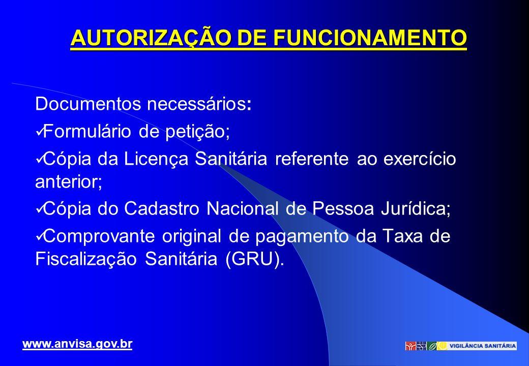AUTORIZAÇÃO DE FUNCIONAMENTO Documentos necessários: Formulário de petição; Cópia da Licença Sanitária referente ao exercício anterior; Cópia do Cadas