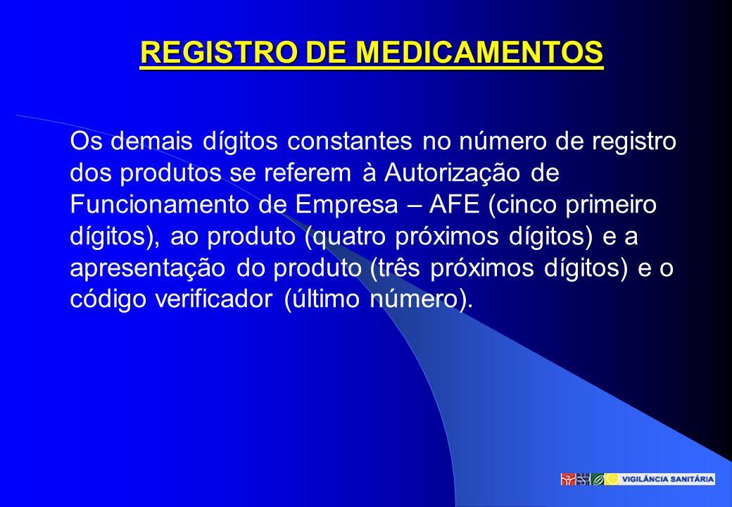 Os demais dígitos constantes no número de registro dos produtos se referem à Autorização de Funcionamento de Empresa – AFE (cinco primeiro dígitos), a