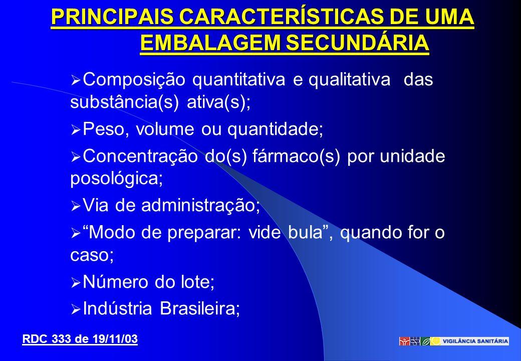 Composição quantitativa e qualitativa das substância(s) ativa(s); Peso, volume ou quantidade; Concentração do(s) fármaco(s) por unidade posológica; Vi