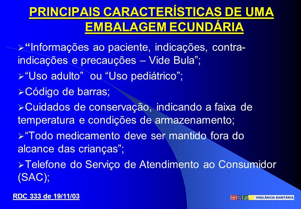Informações ao paciente, indicações, contra- indicações e precauções – Vide Bula; Uso adulto ou Uso pediátrico; Código de barras; Cuidados de conserva