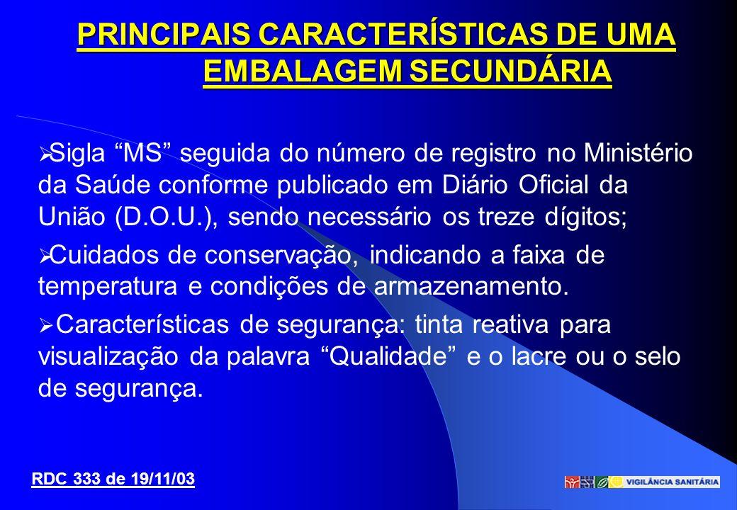Sigla MS seguida do número de registro no Ministério da Saúde conforme publicado em Diário Oficial da União (D.O.U.), sendo necessário os treze dígito