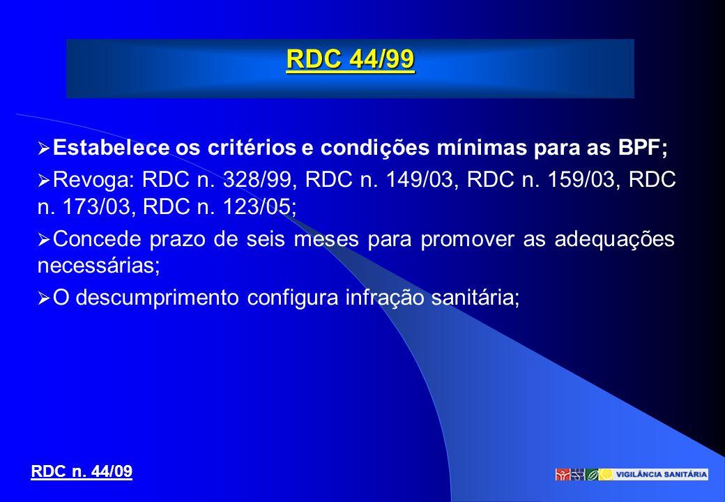 RDC 44/99 RDC n. 44/09 Estabelece os critérios e condições mínimas para as BPF; Revoga: RDC n. 328/99, RDC n. 149/03, RDC n. 159/03, RDC n. 173/03, RD