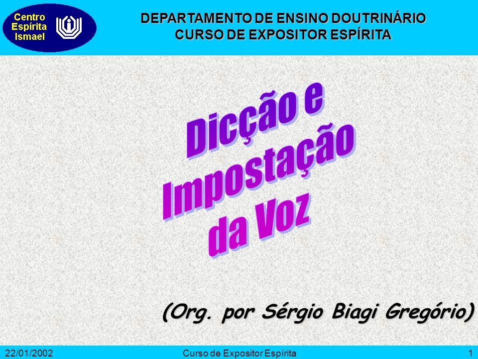 22/01/2002Curso de Expositor Espírita1 (Org. por Sérgio Biagi Gregório) DEPARTAMENTO DE ENSINO DOUTRINÁRIO CURSO DE EXPOSITOR ESPÍRITA