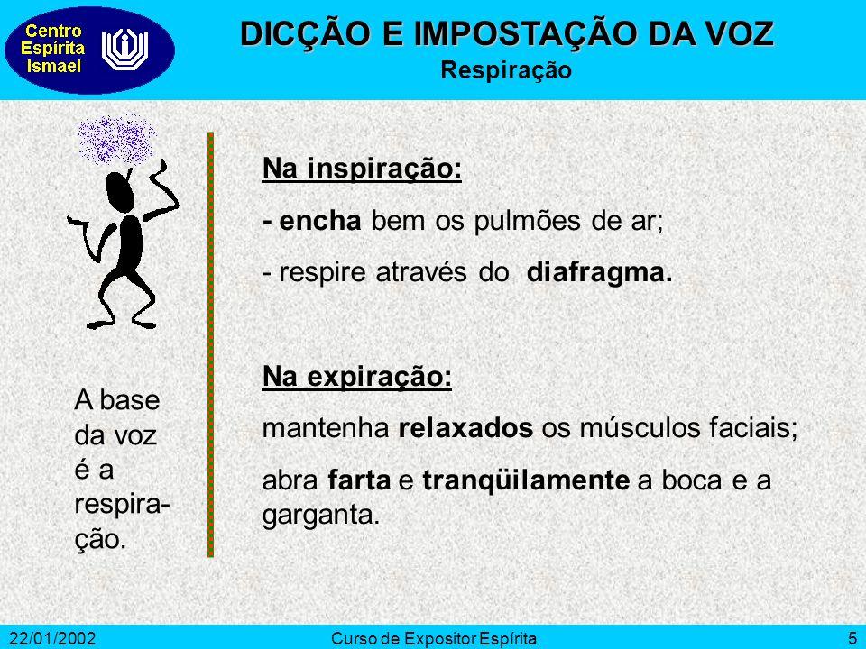 22/01/2002Curso de Expositor Espírita5 Na inspiração: - encha bem os pulmões de ar; - respire através do diafragma. Na expiração: mantenha relaxados o