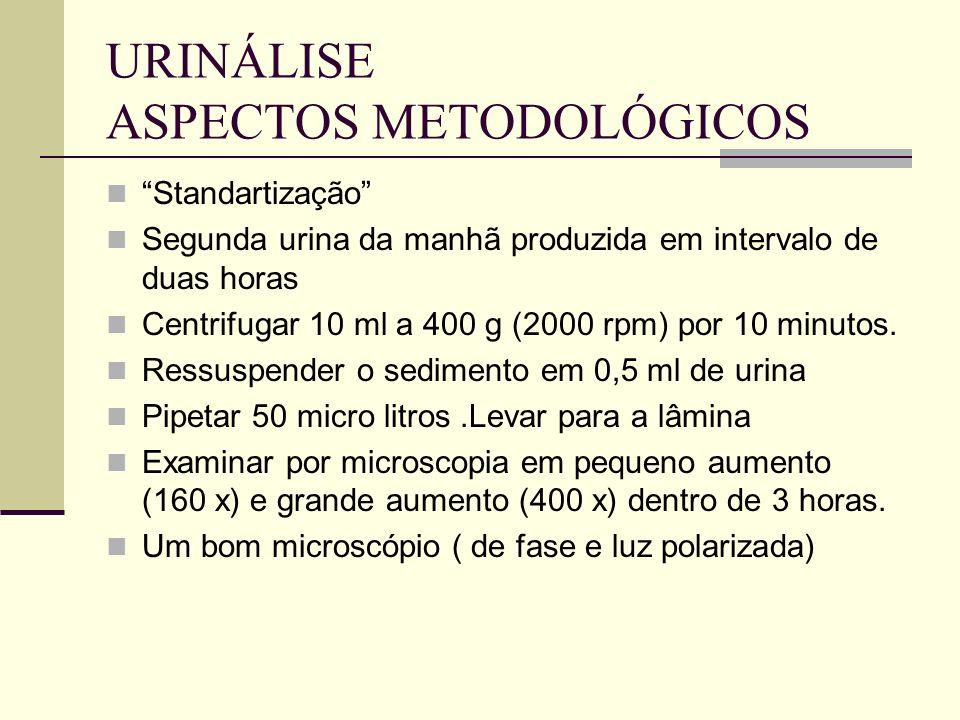 URINÁLISE ASPECTOS METODOLÓGICOS Standartização Segunda urina da manhã produzida em intervalo de duas horas Centrifugar 10 ml a 400 g (2000 rpm) por 1