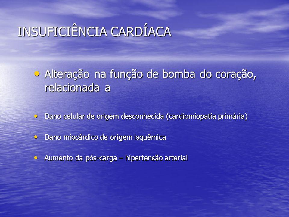 INSUFICIÊNCIA CARDÍACA Alteração na função de bomba do coração, relacionada a Alteração na função de bomba do coração, relacionada a Dano celular de o