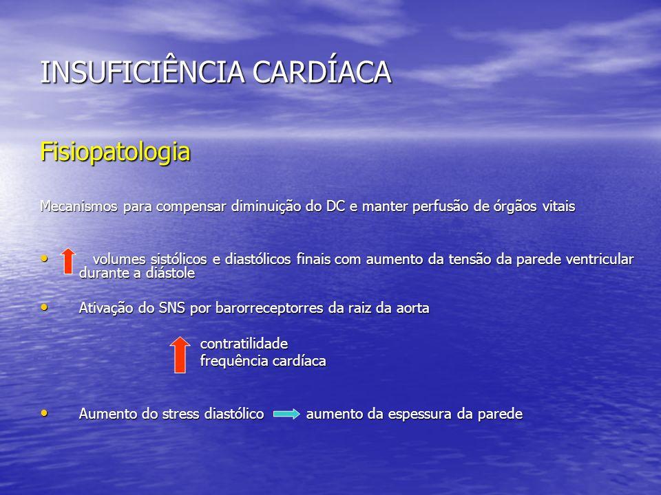 INSUFICIÊNCIA CARDÍACA Fisiopatologia Mecanismos para compensar diminuição do DC e manter perfusão de órgãos vitais volumes sistólicos e diastólicos f