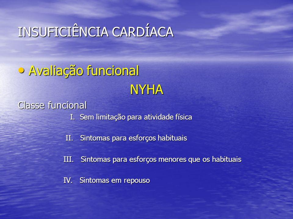 INSUFICIÊNCIA CARDÍACA Avaliação funcional Avaliação funcionalNYHA Classe funcional I. Sem limitação para atividade física I. Sem limitação para ativi