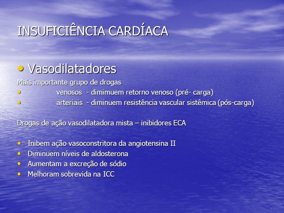 INSUFICIÊNCIA CARDÍACA Vasodilatadores Vasodilatadores Mais importante grupo de drogas venosos - dimimuem retorno venoso (pré- carga) venosos - dimimu