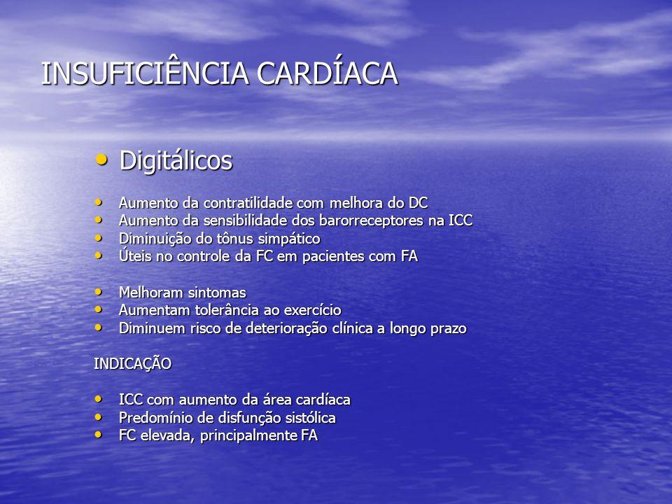 INSUFICIÊNCIA CARDÍACA Digitálicos Digitálicos Aumento da contratilidade com melhora do DC Aumento da contratilidade com melhora do DC Aumento da sens