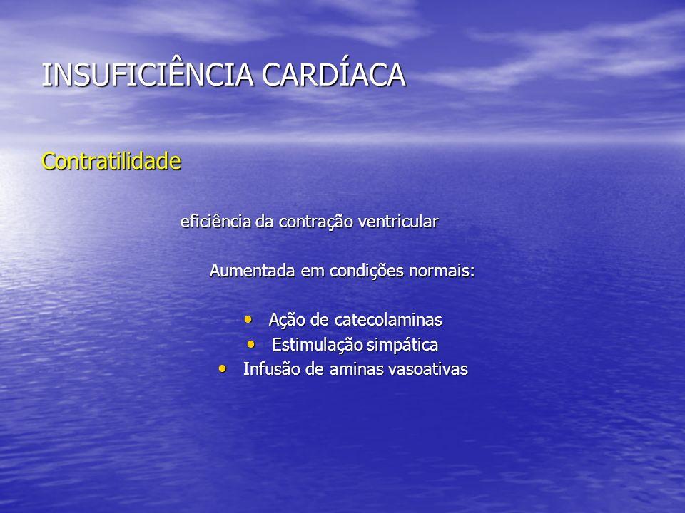 INSUFICIÊNCIA CARDÍACA Contratilidade eficiência da contração ventricular eficiência da contração ventricular Aumentada em condições normais: Ação de
