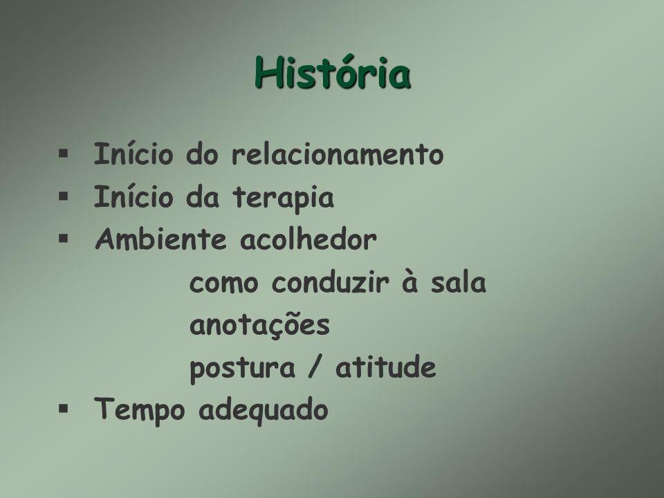História § Início do relacionamento § Início da terapia § Ambiente acolhedor como conduzir à sala anotações postura / atitude § Tempo adequado