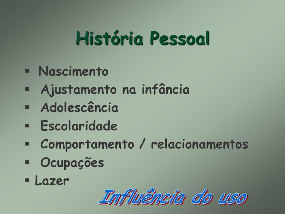 História Pessoal Nascimento § Ajustamento na infância § Adolescência § Escolaridade § Comportamento / relacionamentos § Ocupações §Lazer