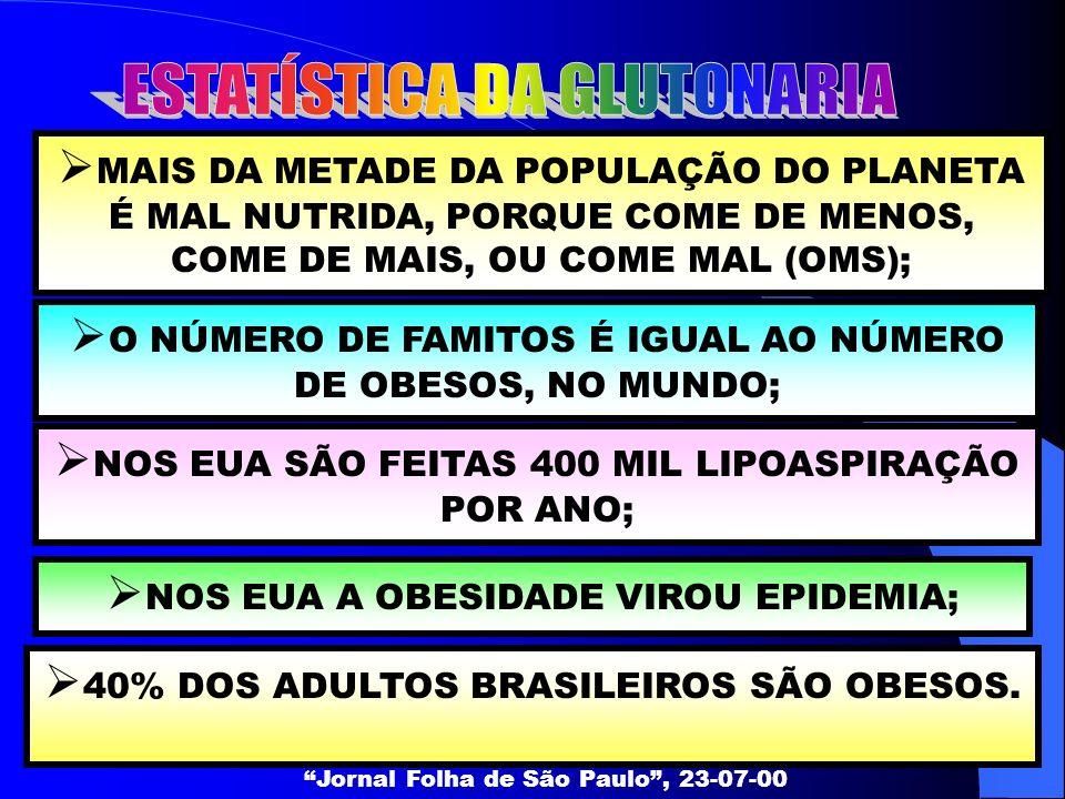 MAIS DA METADE DA POPULAÇÃO DO PLANETA É MAL NUTRIDA, PORQUE COME DE MENOS, COME DE MAIS, OU COME MAL (OMS); Jornal Folha de São Paulo, 23-07-00 O NÚM
