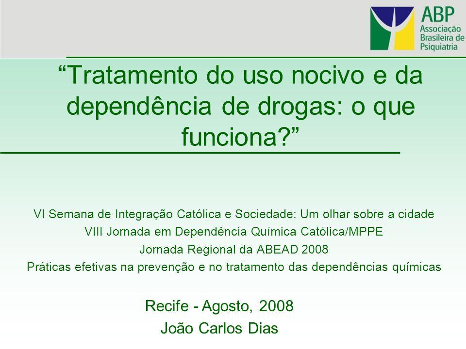 DROGAS Maconha Solventes Benzodiazepínicos Orexígenos Estimulantes Cocaína Xaropes (codeína) Opiáceos Alucinógenos Esteróides Crack Barbitúricos Anticolinérgicos Merla Heroína Na vida 8,8 6,1 5,6 4,1 3,2 2,9 1,9 1,3 1,1 0,9 0,7 0,5 0,2 0,1 No ano 2,6 1,2 2,1 3,8 0,7 0,4 0,5 0,32 0,2 0,1 0,2 0 No mês 1,9 0,4 1,3 0,1 0,3 0,4 0,2 0,3 0,2 0,1 0 Tipos de uso (%) CEBRID, 2005